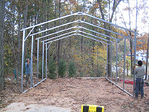 construction of a metal carport