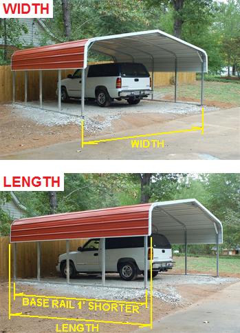 Regular carport width length description for Carport width