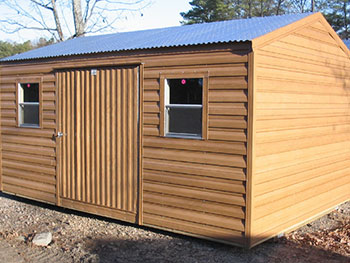 shown here is a portable shed in a woodgrain style