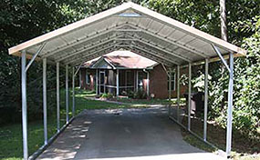 a frame box eave style carports