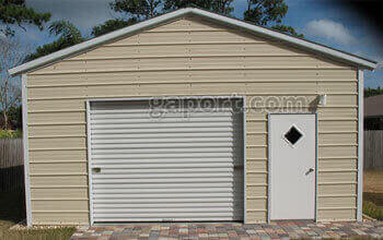 Lovely 20x25x9 metal steel workshop sample with a roll up garage door and walk-thru door.