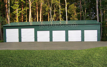 Nice 30x70x12x16.8 metal workshop sample with six roll up garage doors and a walk-thru door.