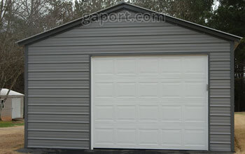 Sample 18 by 25 steel garage in Missouri with aesthetically pleasing gray siding and darker trim.