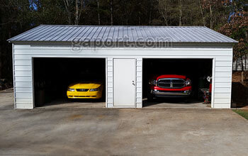 Metal garages steel buildings steel garage plans 24x30x9 metal garage with two 10x7 roll up steel garage doors in the 30 foot solutioingenieria Image collections