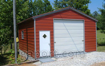 Red metal garage in a size 20x20x9 with a walk thru door one 10x9 roll up garage door.