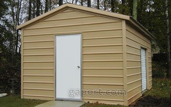 Interestingly, this metal garage is sized 12x20x8x10.5 with a garage door in the side.