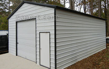 An interesting metal garage displayed here in a size 22 x 30 x 11 in white with black trim.
