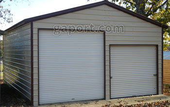 22 wide x 30 long x 11 legs x 15 peak height metal garage, two rollups.
