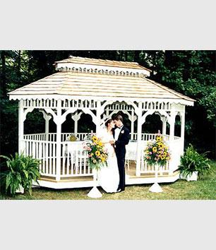 Gazebos are a perfect setting for wedding photos and anniversary celebrations.
