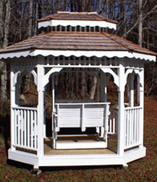 Shown here, a 7x9 teahouse with a very smooth gliding enjoyable swing.