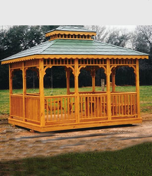 This is a 12x16 oblong gazebo glider house with a double metal roof.