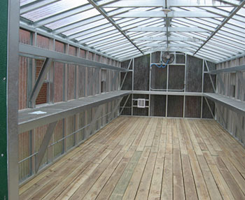 A view of the 12x30 greenhouse from the inside where plants and seedlings live.