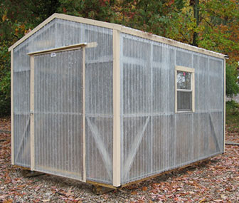 8'x12' fiberglass greenhouse with buckskin colored trim. Learn more about available trim colors.