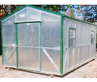 Here is a 10x16 Fiberglass greenhouse with green trim, a favorite choice for garden enthusiasts.