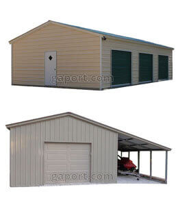 Two metal garage styles that demonstrate garage door placement options for vehicle parking or storage.