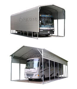 Displays two metal RV covers with campers and travel trailers safely tucked in.