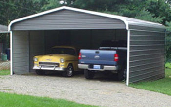 Displayed here is a dark grey rounded style roof carport with white trim.
