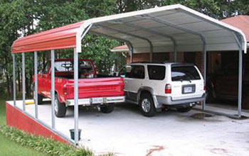 Red round roof carport with white trim installed on concrete to neatly match your home.