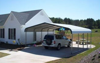Pictured here is a white 20x21 rounded style metal carport which is the most common size.