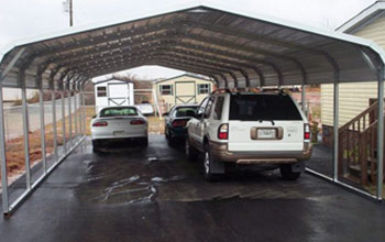 This double sized carport is good for parking more than two vehicles side by side.