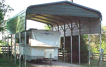 Tall and narrow carport or trailer cover that works to protect motor vehicles and campers.