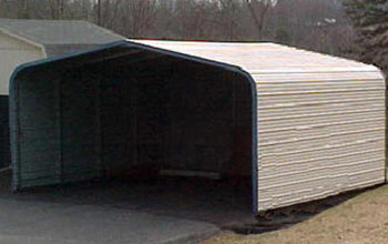 A simple rounded style carport which you see here with full covered sides.
