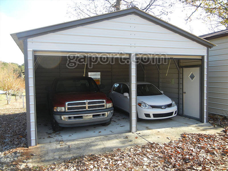 Metal garage two car 2 for Average sq ft of 2 car garage