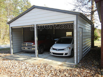 Plenty Of Room To Move Around In This Double Metal Garage