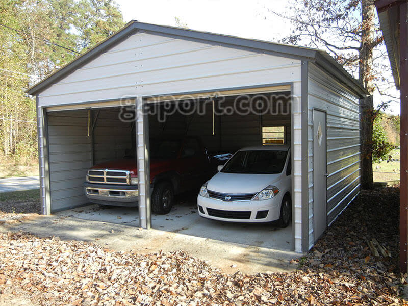 Metal garage two car 2 for Garage low cost auto