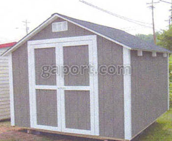 Sampled and shown here is a portable wood building with roof eaves and asphalt shingles.